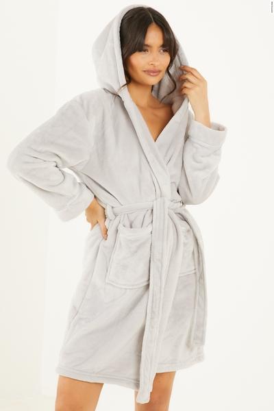 Grey Hooded Fleece Robe